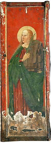 St. Sunniva malt på et alterskap fra Berg. Foto: Universitetets kulturhistoriske museer ©