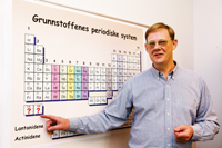 EXTENSION: Professor Jon Petter Omtvedt hopes to extend the periodic table with elements 119 and 120. Photo: Yngve Vogt