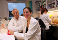 "INFLUENZA: ""The new invention Vaccibody can also be used to make vaccines against flu,"" comment PhD student Gunnveig Grødeland and Professor Bjarne Bogen. Photo: Yngve Vogt"