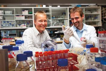 "HINDERS CANCER SPREADING:  ""We hope our new knowledge will make it easier to find a substance that can prevent cancer spreading,"" says Professor Pål Falnes (left) and the principal person behind the study, former postdoc, Stefan Kernstock. Photo: Yngve Vogt"